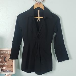 Bailey44 black collared statement blouse